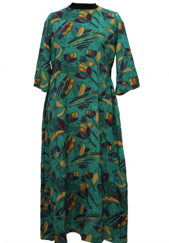 Add to Wishlist Click to enlarge Abstract Printed Peacock Green Long Dress