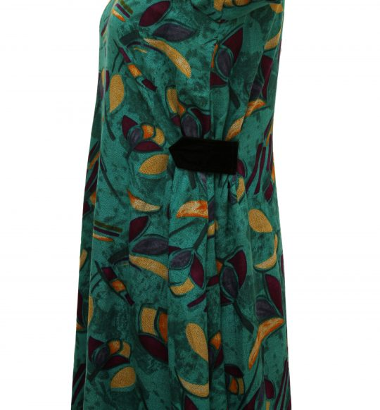 Abstract Printed Peacock Green Long Dress