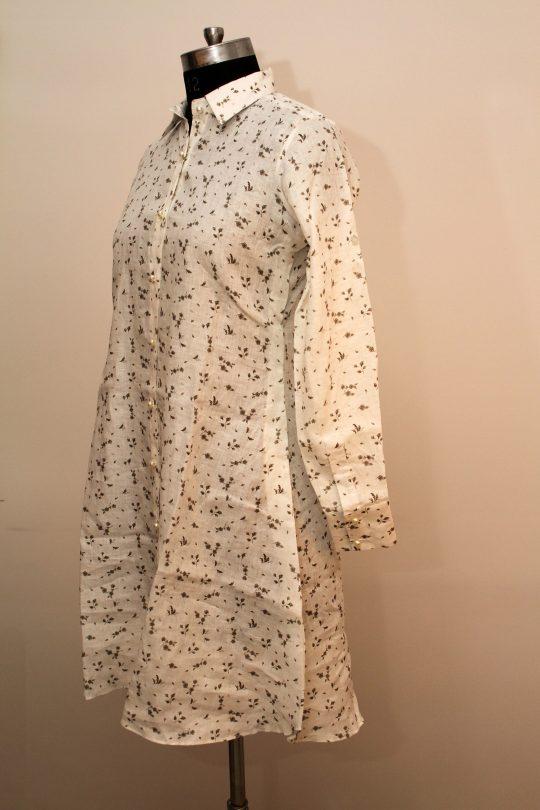 White Printed Linen