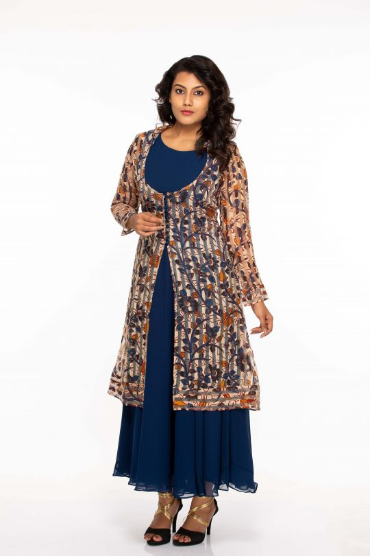 Georgette Dress with Chanderi Overcoat