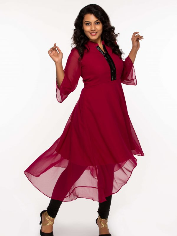 Purple Georgette High low Anarkali