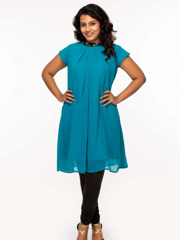 Aqua blue georgette tunic -plus size available