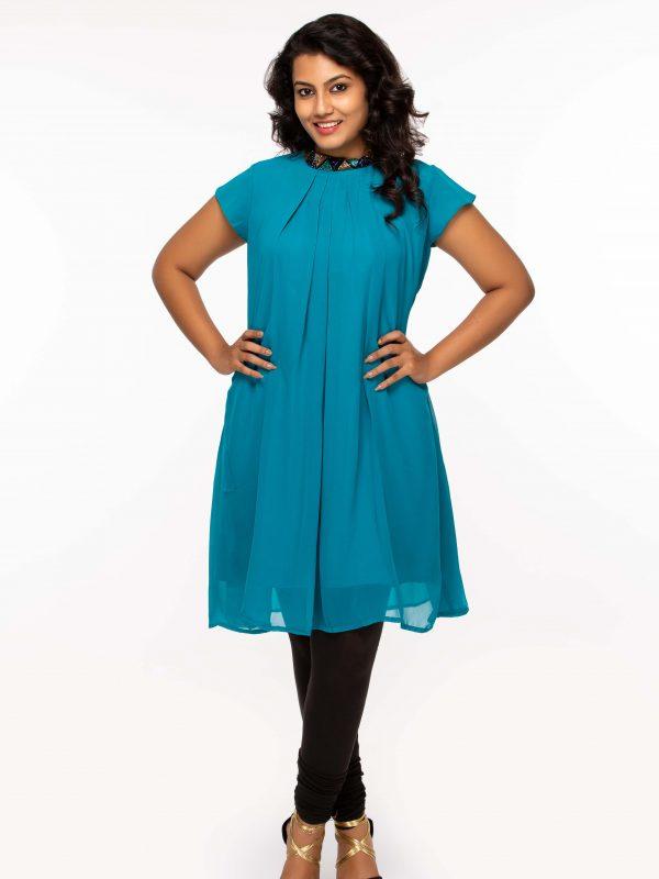 Aqua blue georgette tunic -plus size available