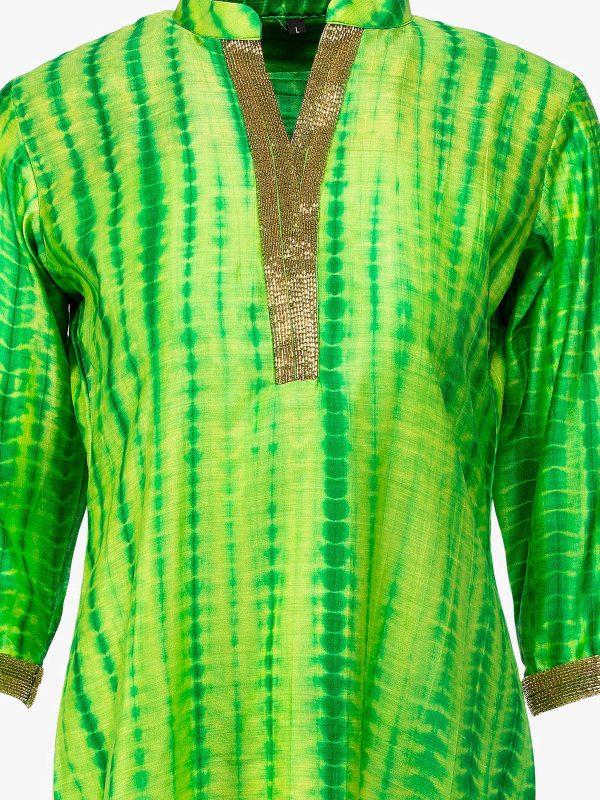 Green Shibori-Silk-closeup