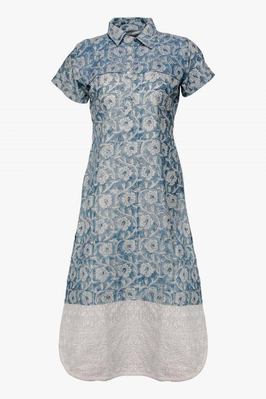 Faded Blue Cotton Kurti
