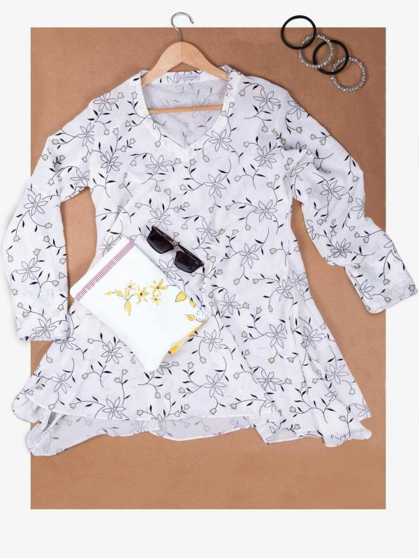 White Floral Georgette Top with Roll Up Sleeves