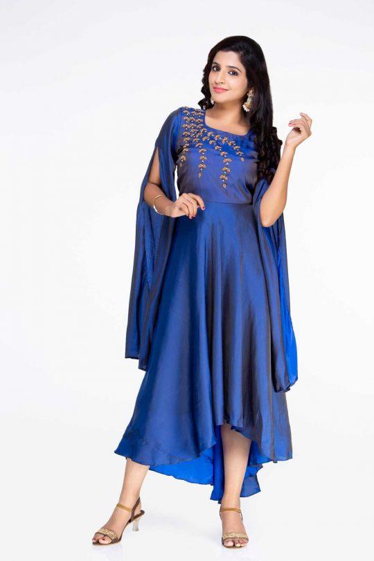 Blue Crepe Gown Long Dress