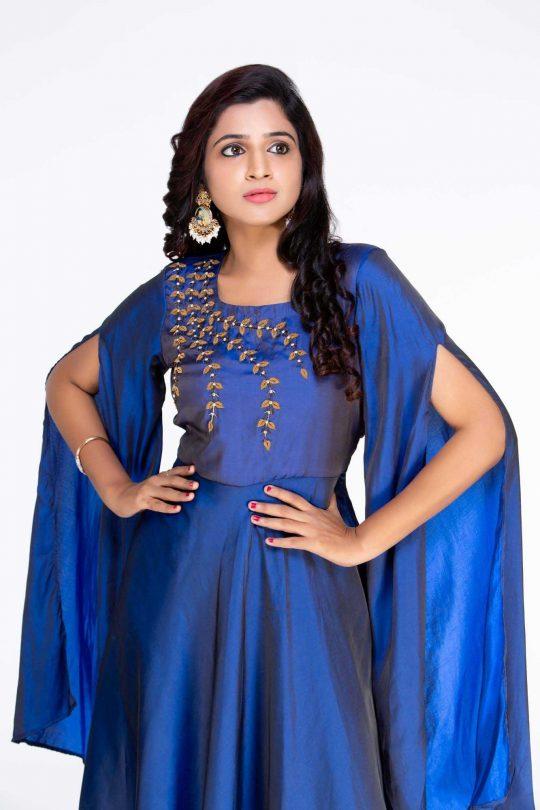 Blue Crepe Gown Maxi Dress