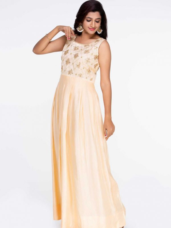 Peach Linen Satin Dress