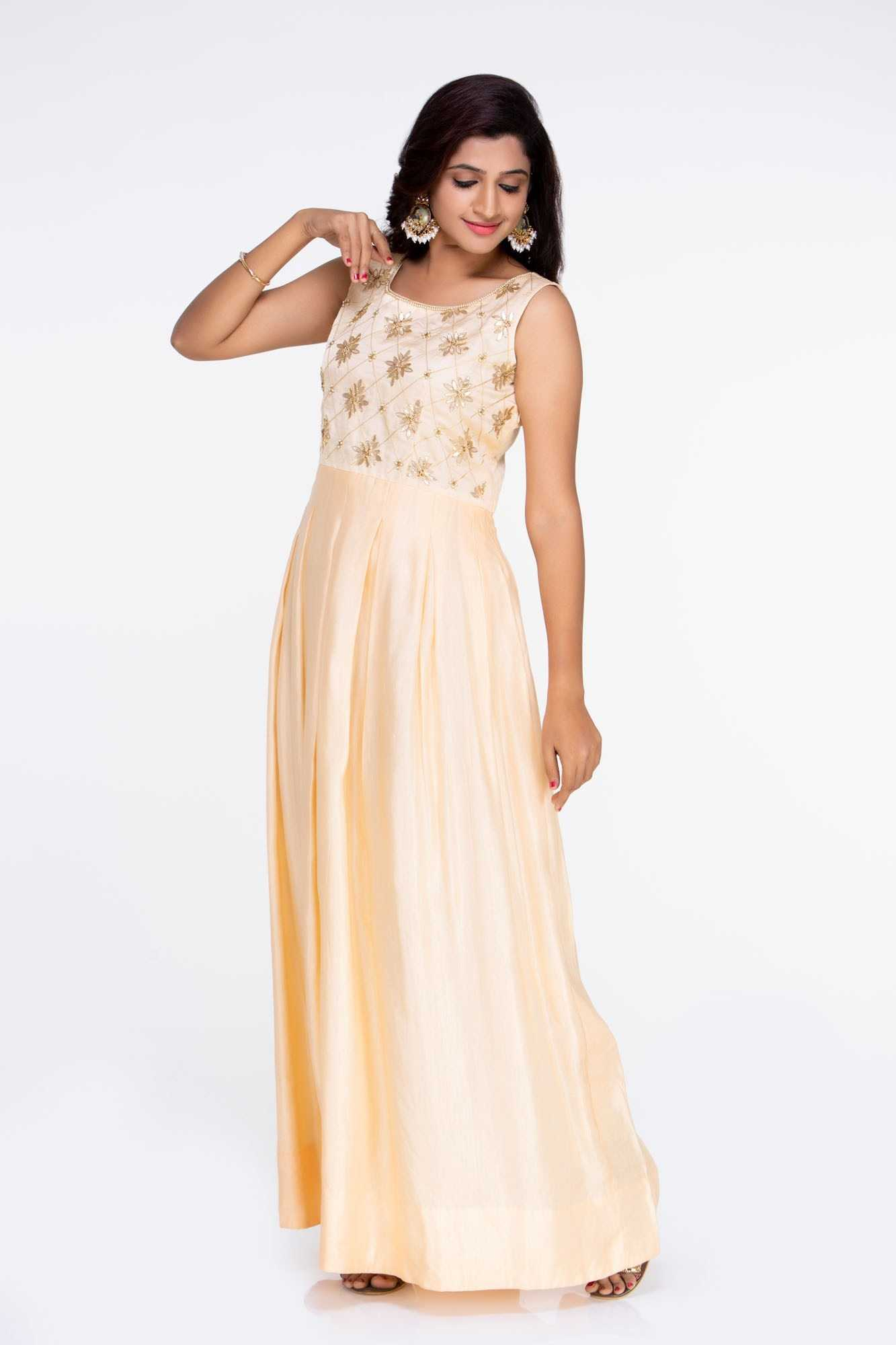 pick up great deals on fashion another chance Peach Linen Satin Dress
