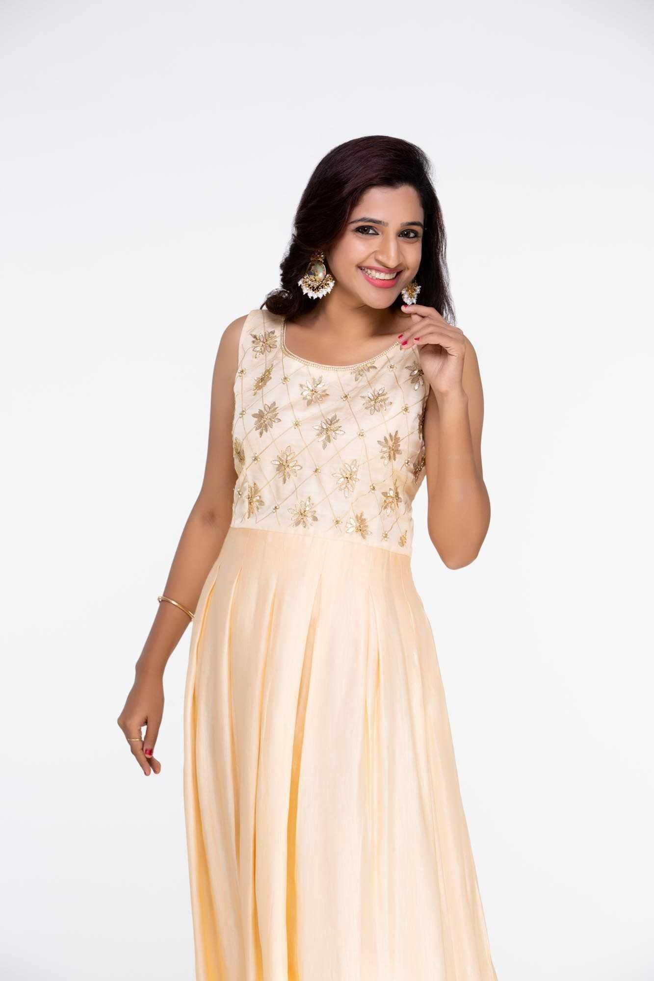 Peach Linen Satin Dress