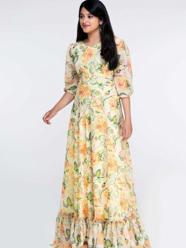 Yellow Floral Georgette Dress Party Gown