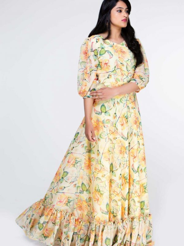 Yellow Floral Georgette Dress Party Gowns
