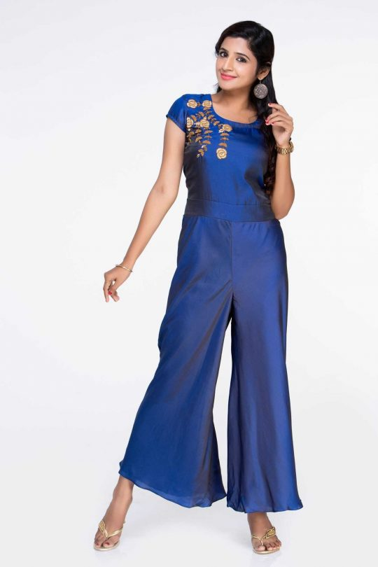 Blue Crepe Jumpsuit Party Wear Gowns