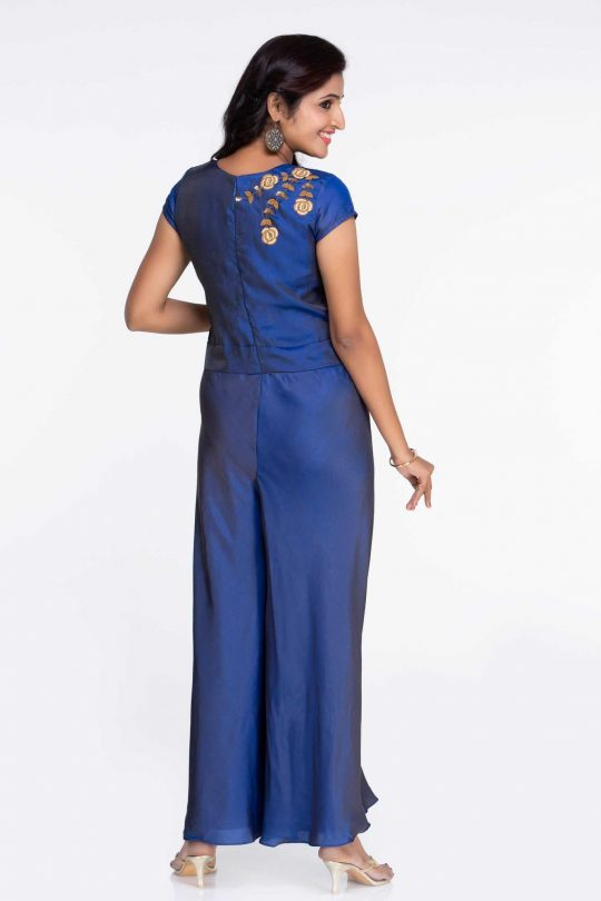 Blue Crepe party Wear Jumpsuit