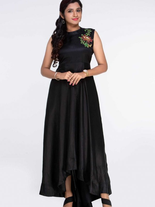 Black Line Satin Dress