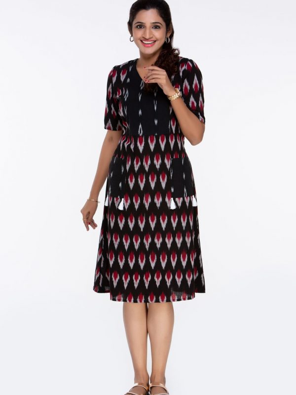 Black and Red Ikat Dress