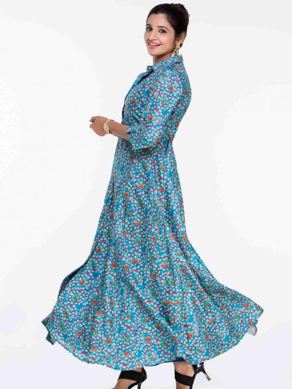 Blue Floral Kalamkari Indian Dress