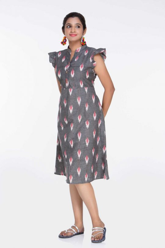 Grey Ikat Dress Stylish Dress