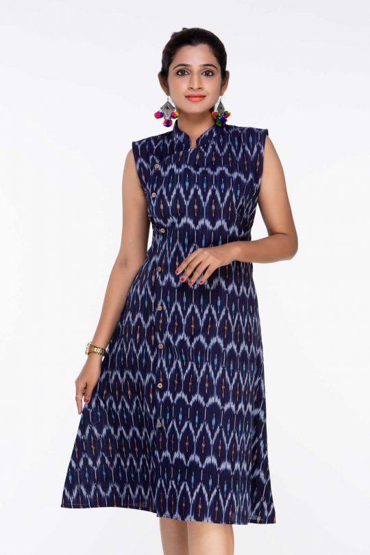 Navy Blue Ikat Knee Length Dress