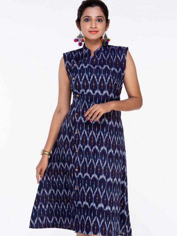 Navy Blue Ikat Knee Length Dress