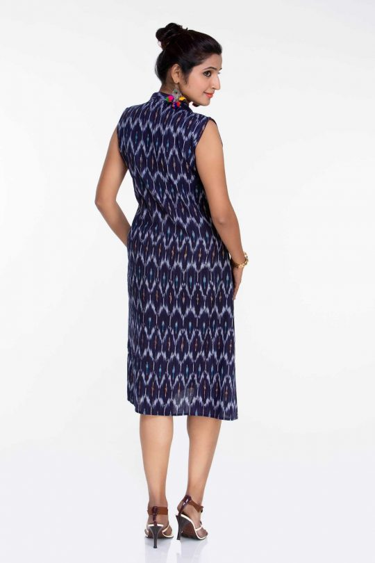 Navy Blue Ikat Sleeveless Dress