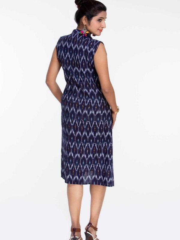 Navy Blue Ikat Sleeveless Dress