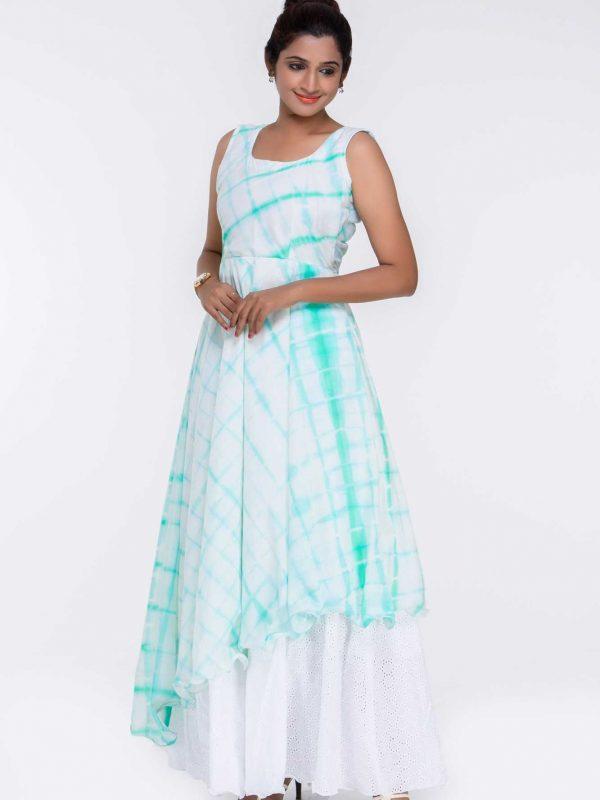 Green Cotton Dress Overlaying a Acoba Skirt