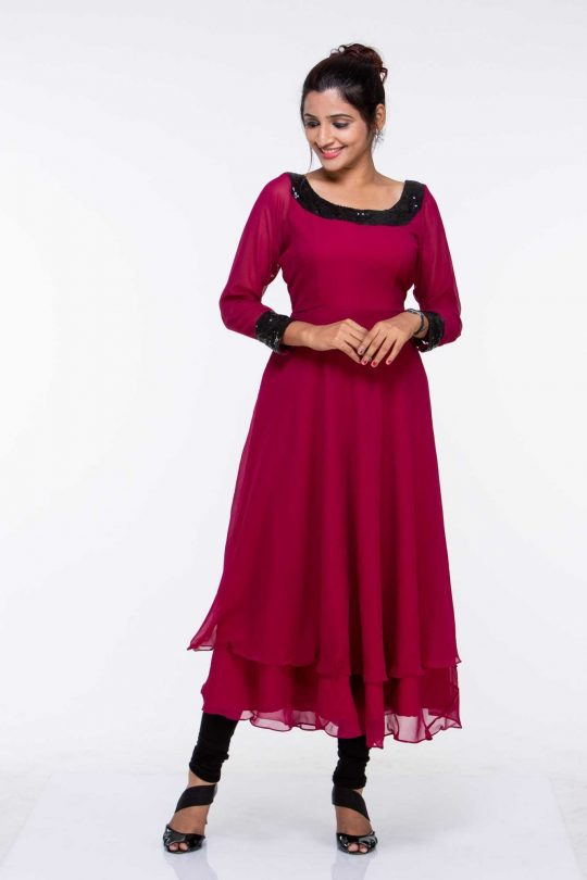 Maroon Georgette Sequinned Plus Size Tunic
