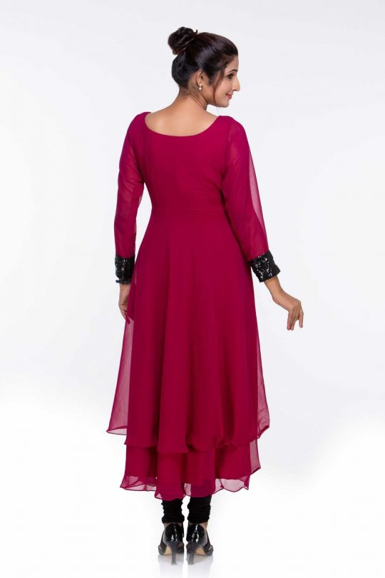 Maroon Georgette Sequinned Designer Tunic