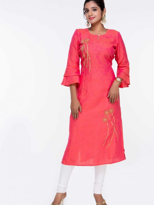 Pure Linen Pink Kurti with Embroidery