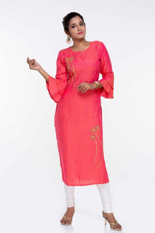 Pure Linen Kurti with Embroidery