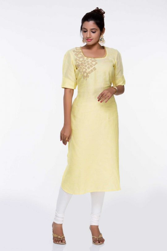 Pure Linen Yellow Kurti with Embroidery