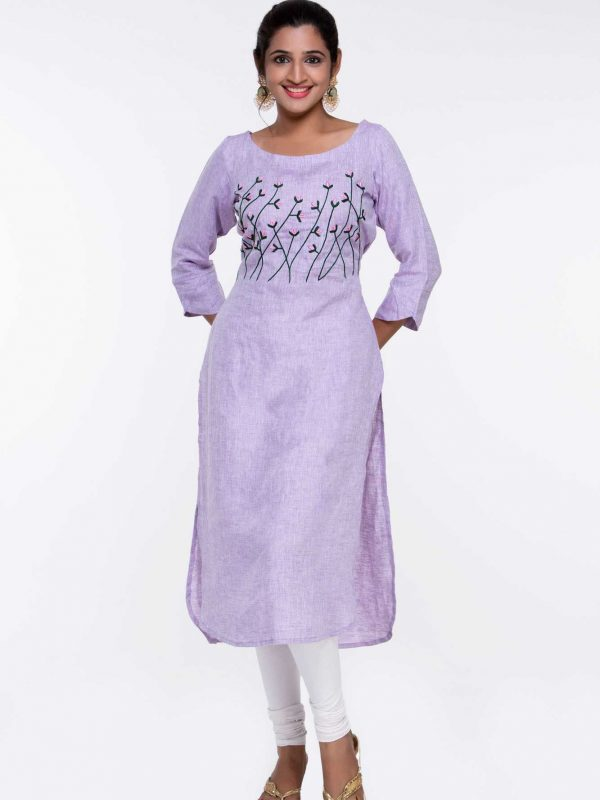 Pure Linen Purple Kurti with Embroidery