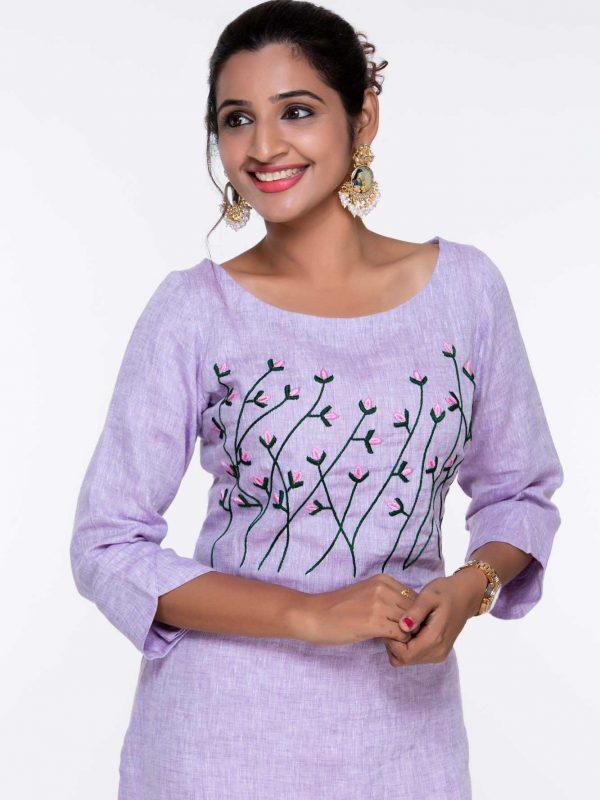 Party Wear Linen Embroidery Kurtis