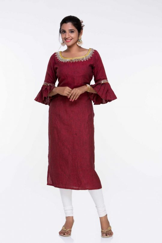 Pure Linen Maroon Kurti with Embroidery