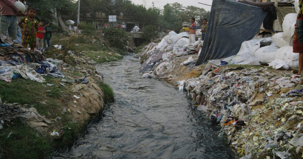 Clothes in sewage