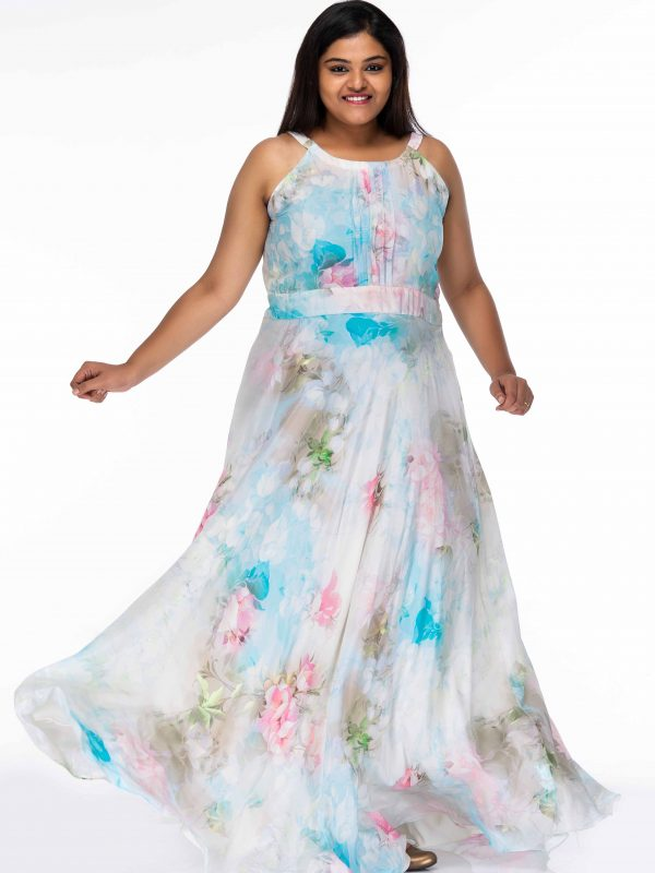 PRETTY GARDEN PRINT FLORAL PLUS SIZE MAXI DRESS