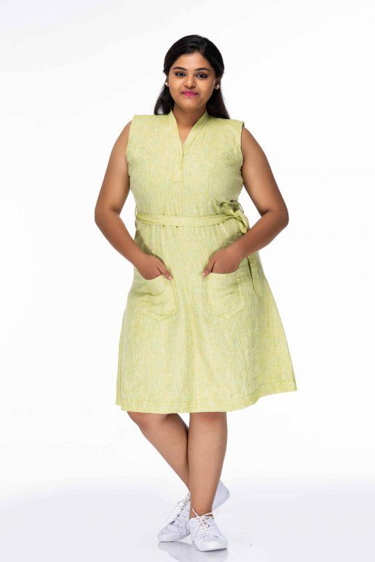 ADORABLE LINEN PLUS SIZE SHIFT DRESS