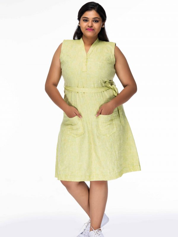 ADORABLE LINEN PLUS SIZE SHIFT DRESS
