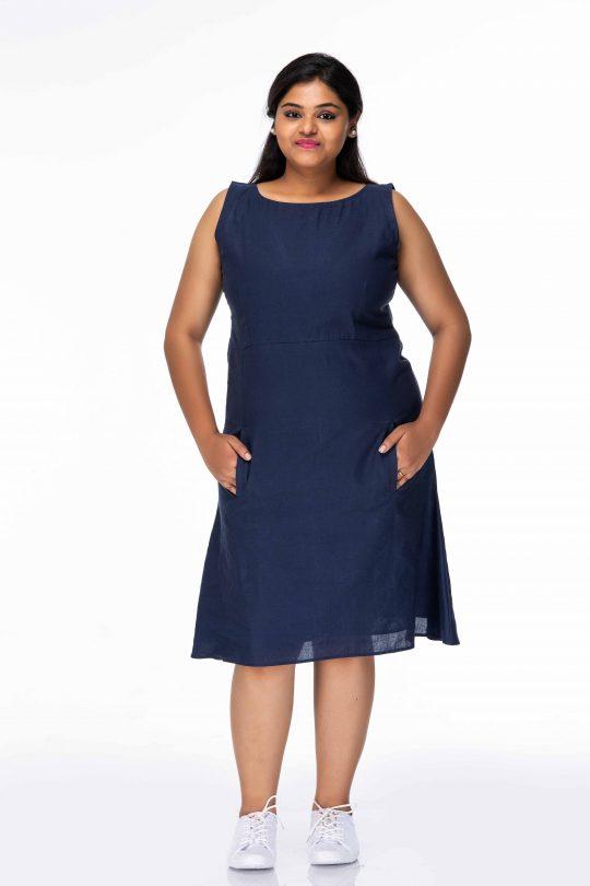 SMART BLUE FREE STYLE PLUS SIZE SHORT DRESS