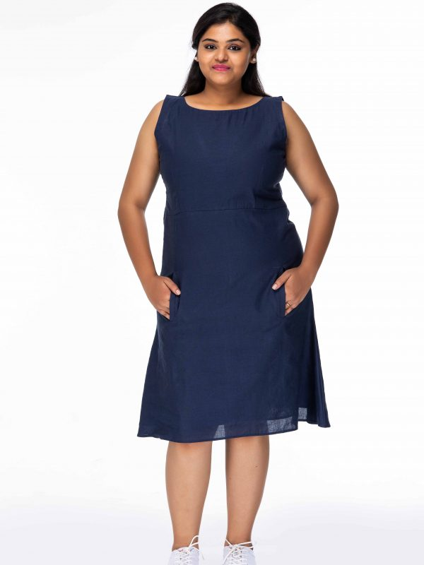 SMART BLUE FREE STYLE PLUS SIZE SHORT DRESS