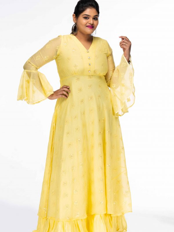 YELLOW SEQUINNED DAYDREAM PLUS SIZE MAXI DRESS