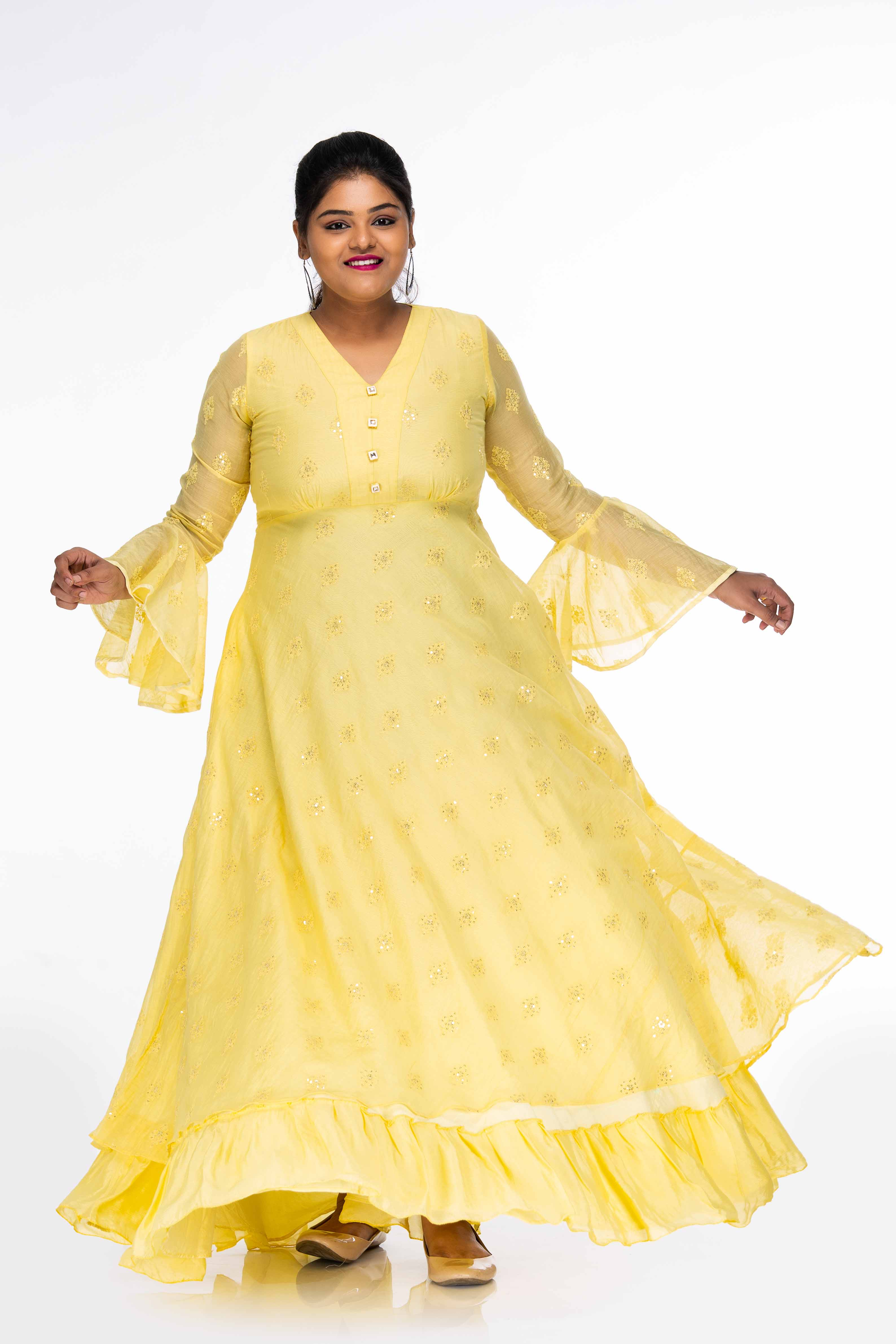 Yellow Sequinned Daydream Maxi Dress