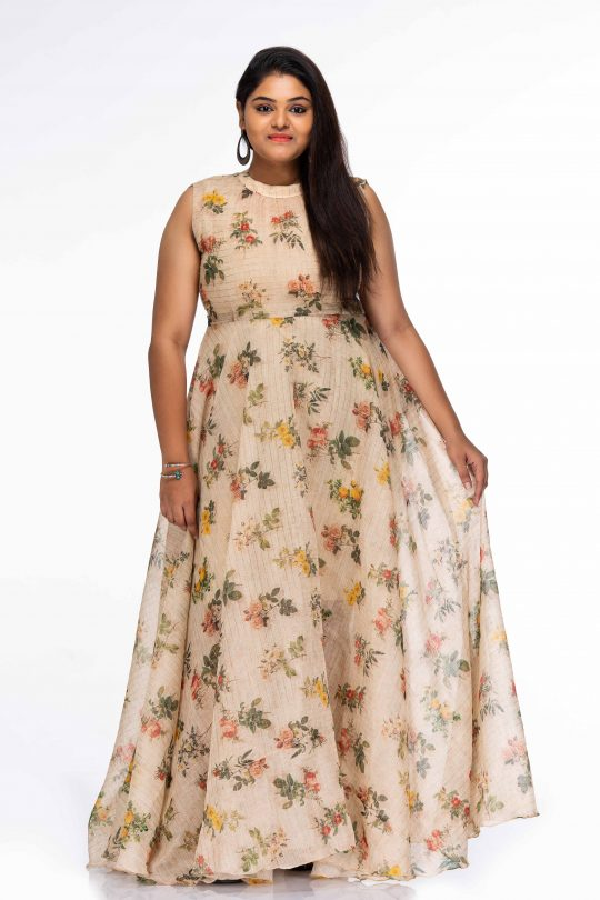 LOVELY BLOSSOMS DIGITAL PRINT PLUS SIZE MAXI DRESS