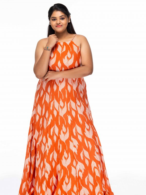 ORANGE FLORAL PRINT PLUS SIZE MAXI DRESS