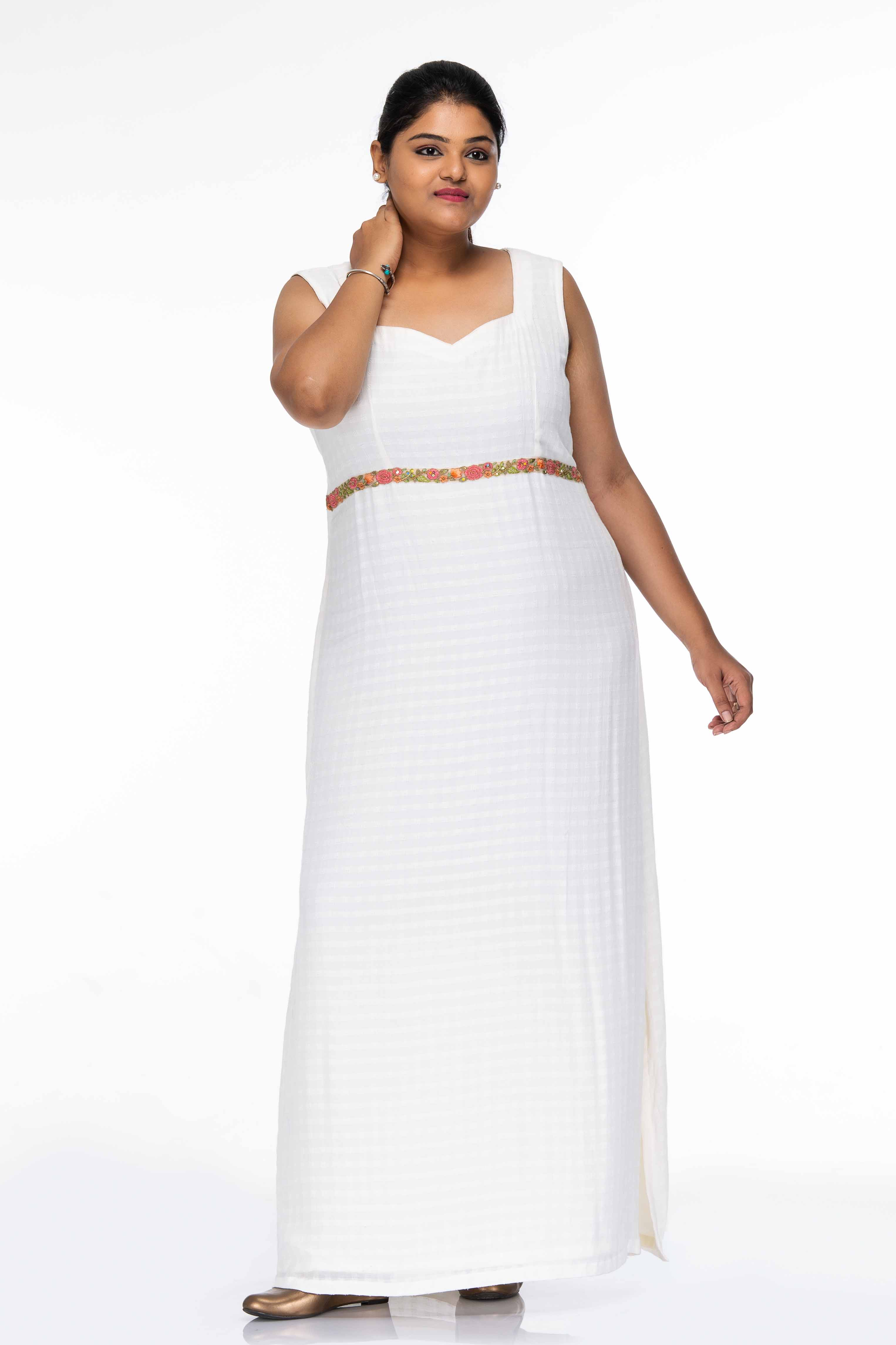 Lily White Empire Waist Maxi Dress with Overcoat