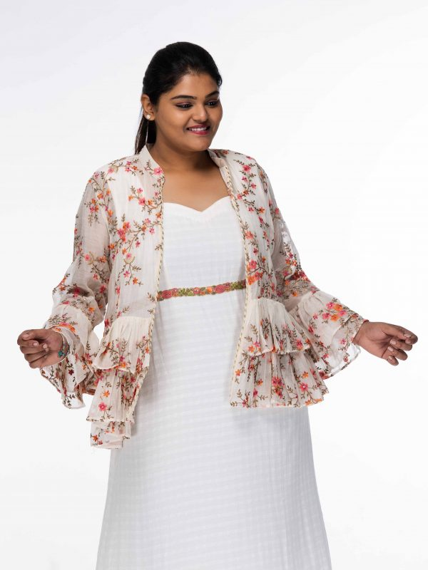 LILY WHITE EMPIRE WAIST PLUS SIZE MAXI DRESS WITH OVERCOAT