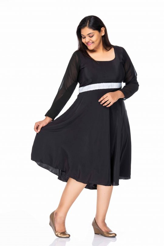 TRUE PASSION BLACK PLUS SIZE PARTY WEAR DRESS