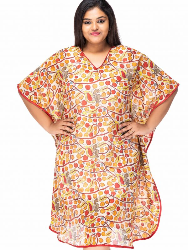 CHERRY DREAMS MULTI PRINT PLUS SIZE KAFTAN